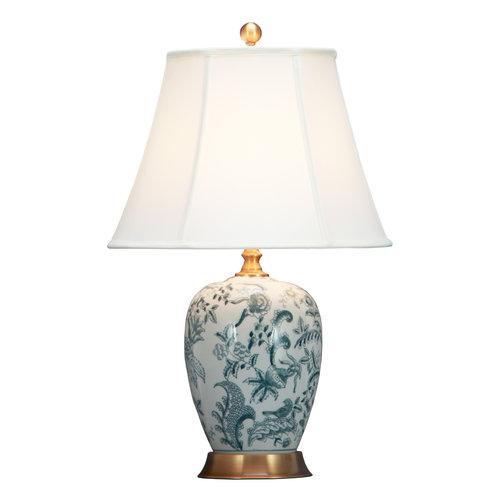 Fine Asianliving Chinese Table Lamp Off White Botanic Garden D41xH66cm