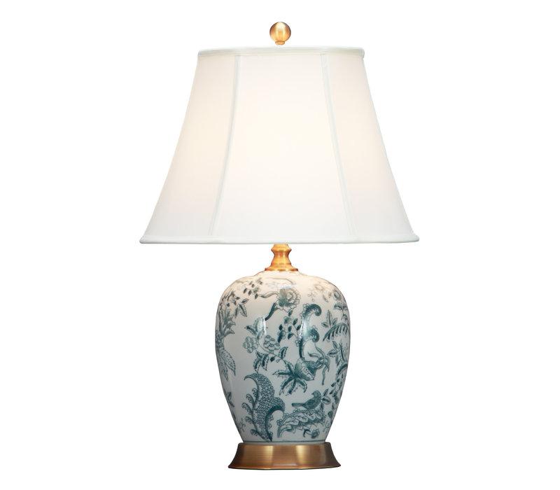 Chinese Tafellamp Off-White Botanische Kunst D41xH66cm