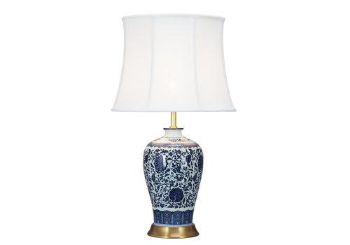 Fine Asianliving Lámpara de Mesa de Porcelana Clásica Loto Azul D.38xA65cm