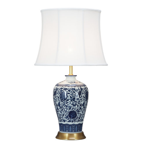 Fine Asianliving Chinese Table Lamp Classic Lotus Blue Porcelain D38xH65cm