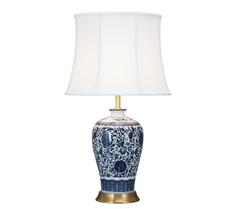 Chinese Tafellamp Klassiek Porselein Lotus Blauw D38xH65cm