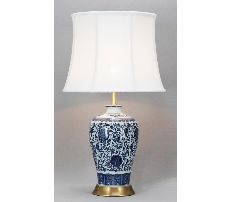 Chinesische Tischlampe Klassisch Porzellan Lotus Blau D38xH65cm