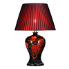 Fine Asianliving Chinese Table Lamp Porcelain Black Peonies D43xH66cm
