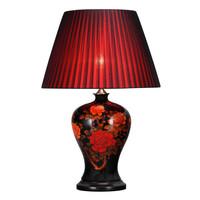 Chinese Tafellamp Porselein Pioenrozen Zwart D43xH66cm