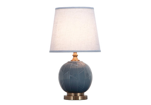 Fine Asianliving Chinese Tafellamp Porselein Reliëf Abstracte Bamboe Grijs D28xH51cm