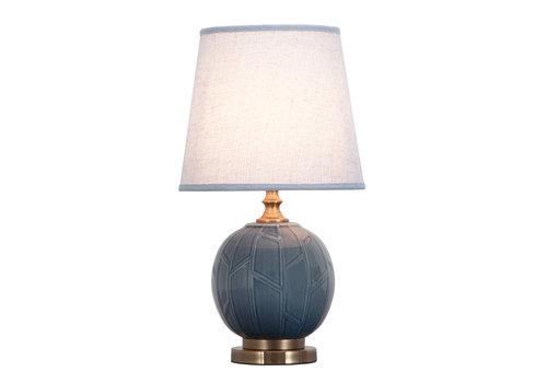 Fine Asianliving Lampe de Table en Porcelaine Chinoise Relief Bambou Abstrait Gris D.28xH51cm