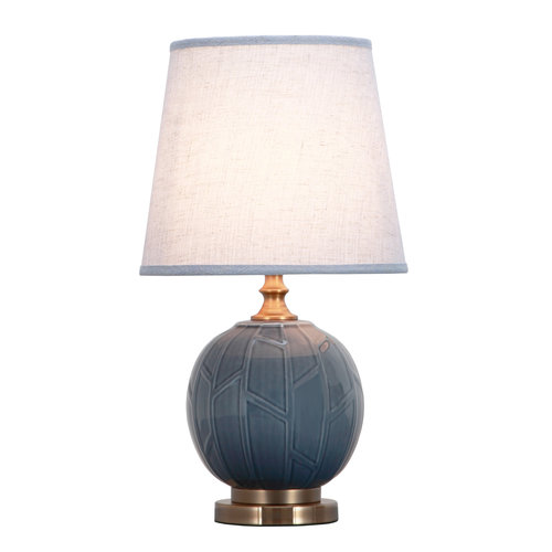 Fine Asianliving Chinese Table Lamp Porcelain Relief Abstract Bamboo Grey D28xH51cm