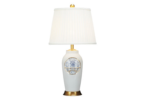 Fine Asianliving Chinese Table Lamp Contemporary Lotus D42xH81cm