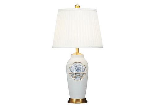 Fine Asianliving Lampe de Table en Porcelaine Chinoise Contemporaine Lotus D.42xH81cm