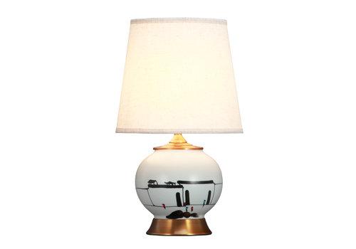 Fine Asianliving Chinese Tafellamp Zwart Wit Landschap Bronzen Voet D28xH48cm