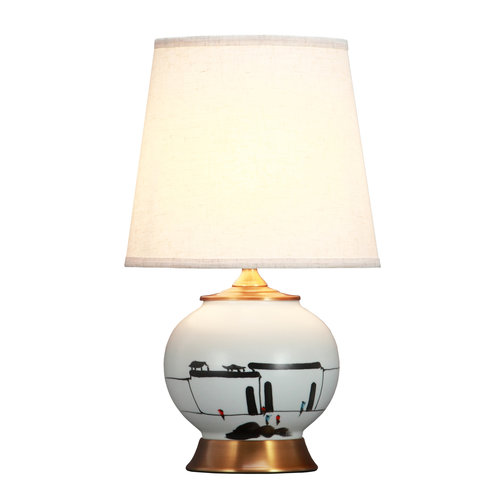 Fine Asianliving Chinese Table Lamp Black White Scenery Bronze Base D28xH48cm