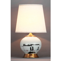 Chinese Table Lamp Black White Scenery Bronze Base D28xH48cm