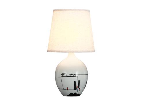 Fine Asianliving Lampe de Table en Porcelaine Chinoise Noire Blanche Paysage D.28xH51cm