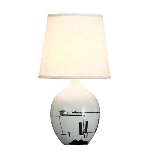 Fine Asianliving Chinese Table Lamp Black White Scenery D28xH51cm