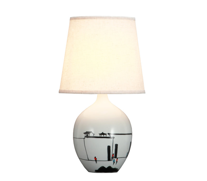 Chinese Tafellamp Zwart Wit Landschap D28xH51cm