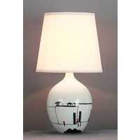 Chinese Table Lamp Black White Scenery D28xH51cm