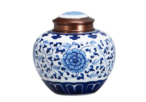 Fine Asianliving Boîte à Thé Chinoise Bleu et Blanc Lotus Diam14cm