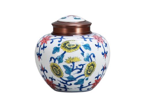 Fine Asianliving Chinese Tea Storage Container Porcelain Multicolour Lotus D14cm