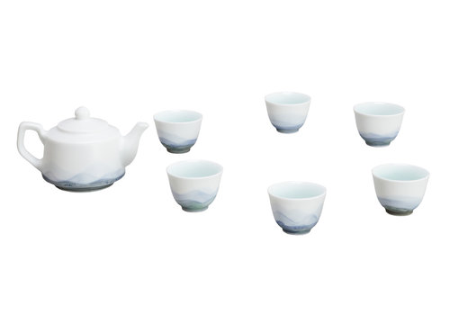 Fine Asianliving Chinese Tea Set/7 Porcelain Scenery Blue