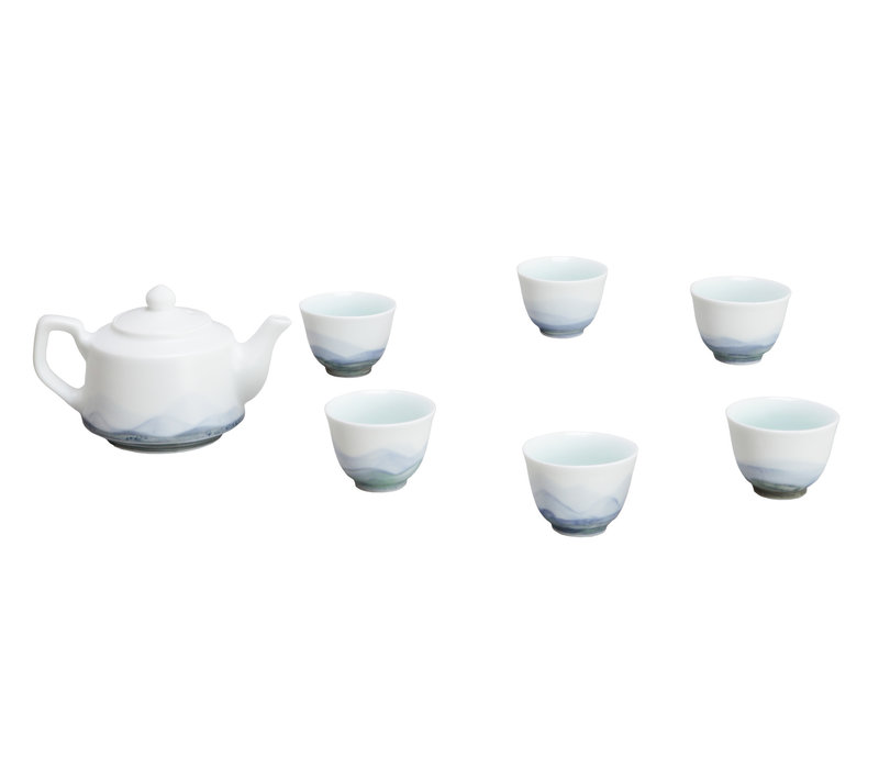 Chinese Tea Set/7 Porcelain Scenery Blue