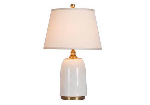 Fine Asianliving Chinese Table Lamp Porcelain with Lampshade Contemporary White