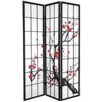 Biombo Separador Japonés A135xA180cm 3 Paneles Shoji Papel de Arroz Negro - Flores de Cerezo