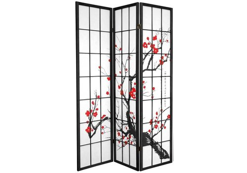 Fine Asianliving Japanese Room Divider 3 Panels W135xH180cm Privacy Screen Shoji Rice-paper Black - Sakura Cherry Blossoms