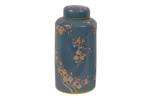 Fine Asianliving Pot Décoratif en Porcelaine avec Couvercle Bleu Peint à la Main D13x27cm