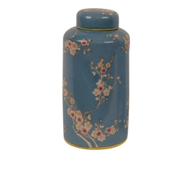 Barattolo di Stoccaggio in Porcellana Cinese Dipinto a Mano Blu D13x27cm