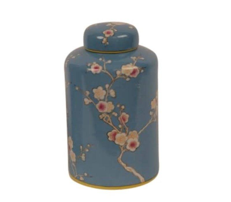 Chinese Gemberpot Porselein Handgeschilderd Blauw Sakura D13x21cm
