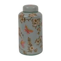 Chinesische Vase mit Deckel Porzellan Handbemalt Türkis Groß