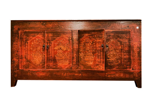 Fine Asianliving Antique Chinese Sideboard Red Handpainted W153xD45xH79cm