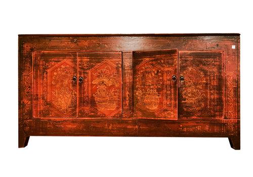Fine Asianliving Buffet Chinois Antique Rouge Peint à la Main L153xP45xH79cm