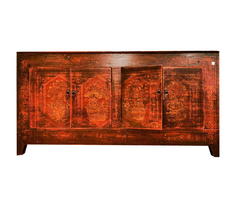 Antikes Chinesisches Sideboard Kommode Handbemalt Rot B153xT45xH79cm