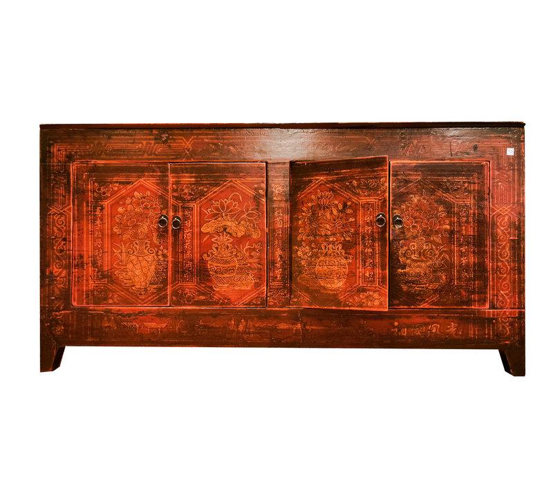 Credenza Cinese Antica Dipinta a Mano Rossa L153xP45xA79cm