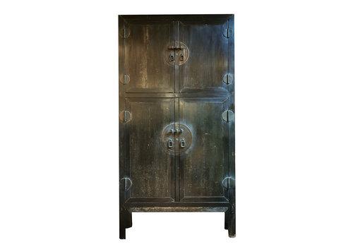 Fine Asianliving Antiker Chinesischer Hochzeitsschrank Schwarz B98xT47xH206cm