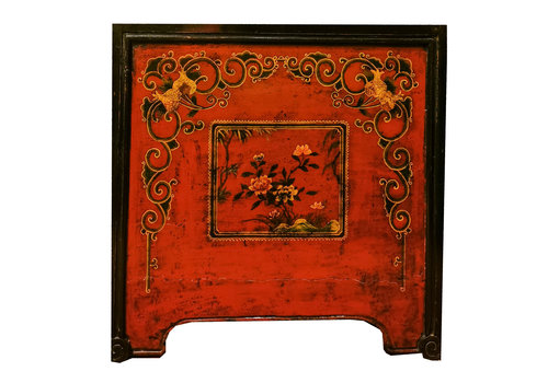 Fine Asianliving Antique Chinese Chest Red Black Handpainted W89xD56xH88cm