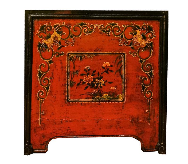Antieke Chinese Kist Rood Zwart Handbeschilderd B89xD56xH88cm