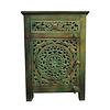 Fine Asianliving Indisch Nachtkastje van Hout Groen Handgemaakt  in India B55xD35xH76cm