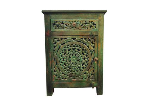 Fine Asianliving Table de Chevet Indienne en Bois Fait Main en Indien Teal L55xP35xH76cm