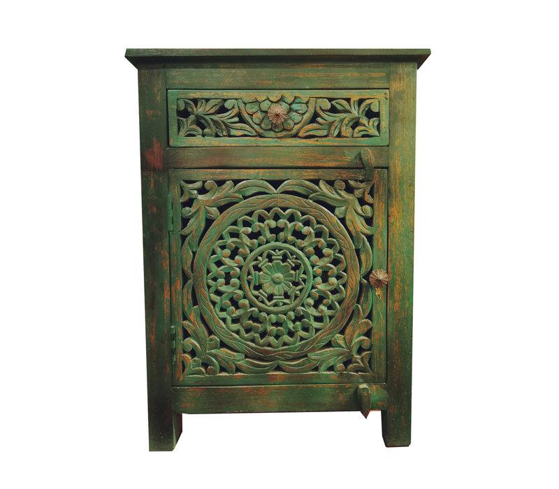 Indisch Nachtkastje van Hout Groen Handgemaakt  in India B55xD35xH76cm
