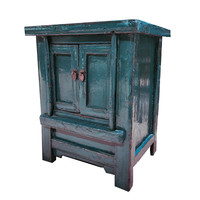 Antique Chinese Cabinet Glossy Teal W56xD42xH68cm