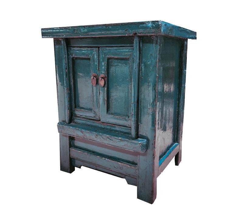 Antiek Chinees Kastje Glanzend Teal 20e Eeuw B56xD42xH68cm