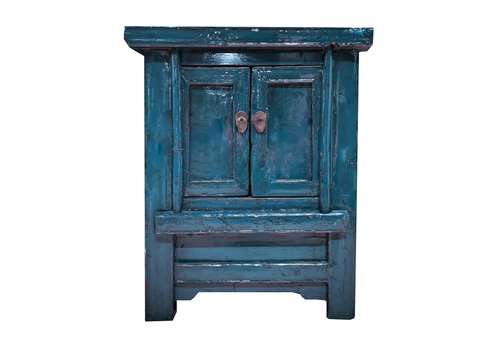 Fine Asianliving Antique Chinese Cabinet Glossy Teal W56xD42xH68cm