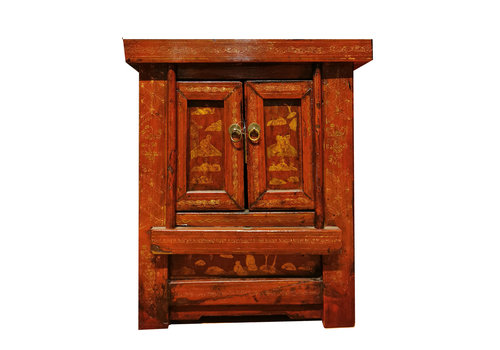 Fine Asianliving Table de Chevet Chinoise Antique Peinte à la Main Rouge L58xP42xH66cm