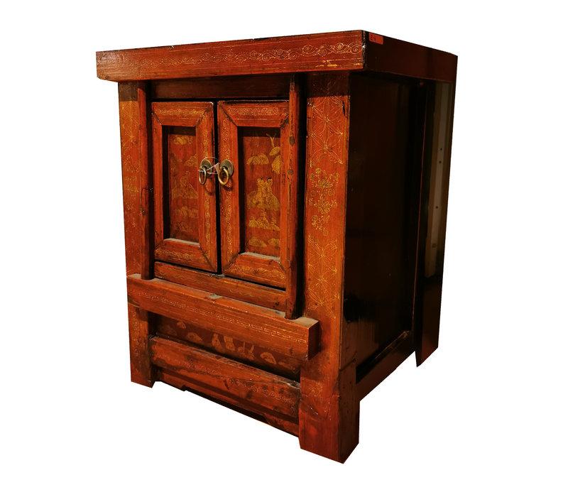 Antiek Chinees Nachtkastje Handbeschilderd Rood B58xD42xH66cm