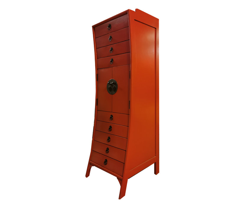 Chinese Cabinet Red with Drawers W44xD40xH135cm