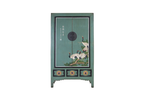 Fine Asianliving Antique Chinese Wedding Cabinet Blue Handcrafted Cranes W101xD56xH190cm