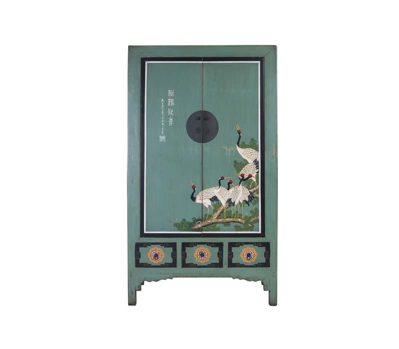 Antieke Chinese Bruidskast Blauw Handbeschilderde Kraanvogels B101xD56xH190cm