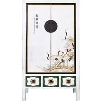 Antieke Chinese Bruidskast Handbeschilderde Kraanvogels Wit B101xD56xH190cm